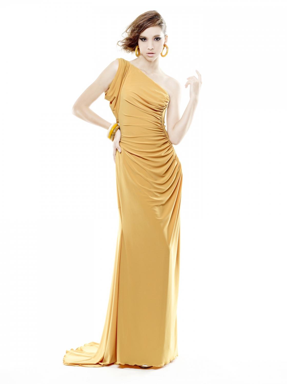 One Shoulder Drape Dress Yellow Mustard Panumasone Shoulder Drape Dress Yellow Mustard Panumas
