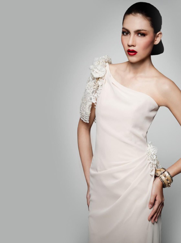 16e73102819 One-shoulder chiffon lace-trimmed draped gown - PanumasOne-shoulder chiffon  lace-trimmed draped gown - Panumas